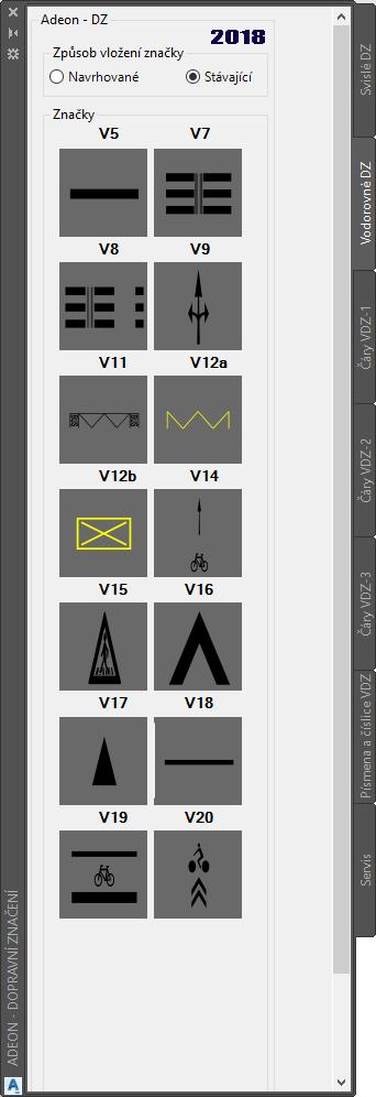 Stávající vodorovné dopravní značení AutoCAD Civil