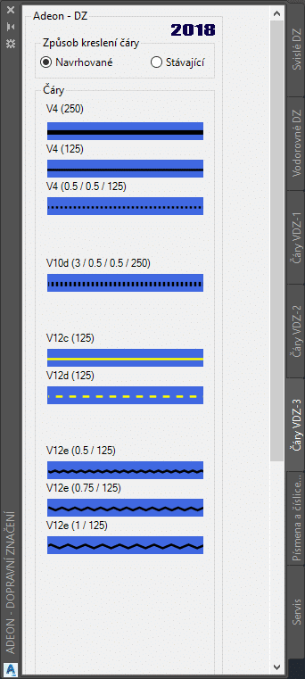 Podelne čáry v AutoCAD Civil 3D