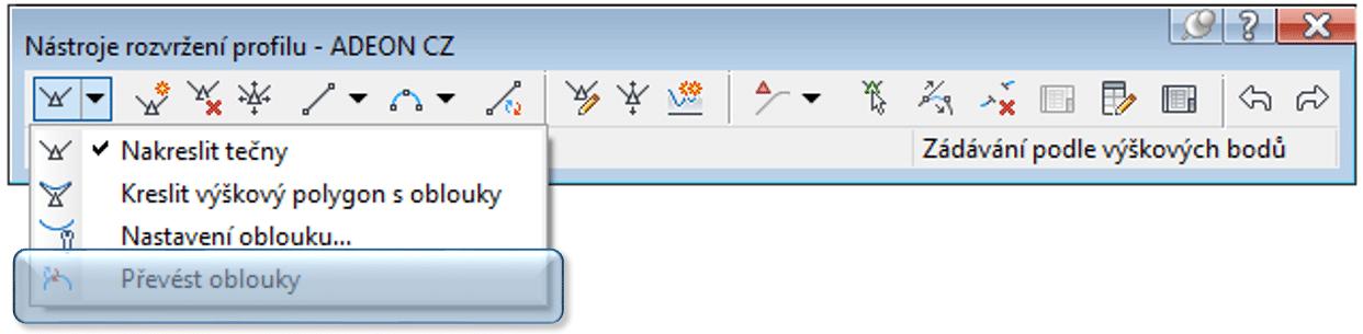 řevod nových typů výškových oblouků do starších verzí C3D